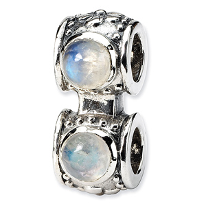 Sterling Silver Reflections Moonstone Connector Bead