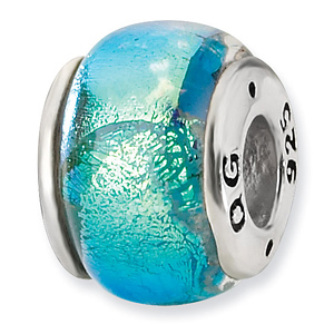 Sterling Silver Blue Dichroic Glass Bead