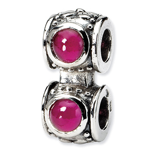 Sterling Silver Reflections Red CZ Connector Bead
