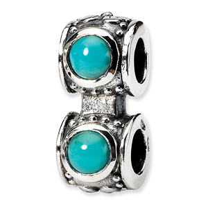 Sterling Silver Reflections Turquoise CZ Connector Bead