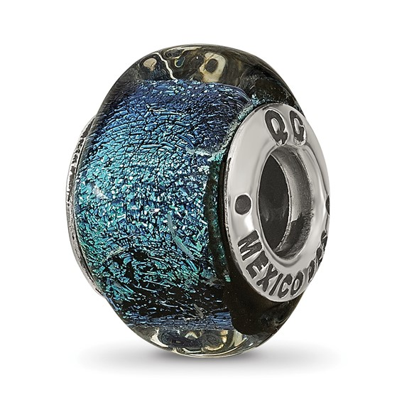 Sterling Silver Blue Dichroic Glass Square Bead