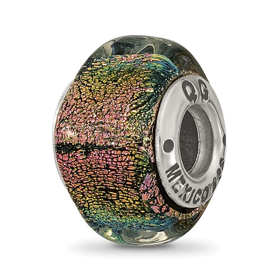 Sterling Silver Purple Dichroic Glass Square Bead