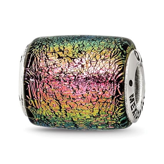 Sterling Silver Purple Dichroic Glass Barrel Bead