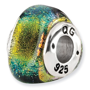 Sterling Silver Yellow Dichroic Glass Triangle Bead
