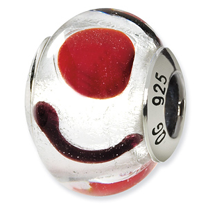 Sterling Silver White Red Black Italian Murano Bead