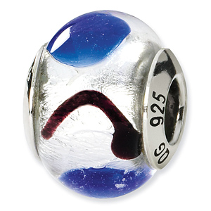 Sterling Silver White Blue Black Italian Murano Bead