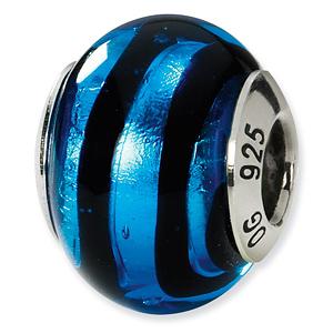 Sterling Silver Blue Black Italian Murano Bead