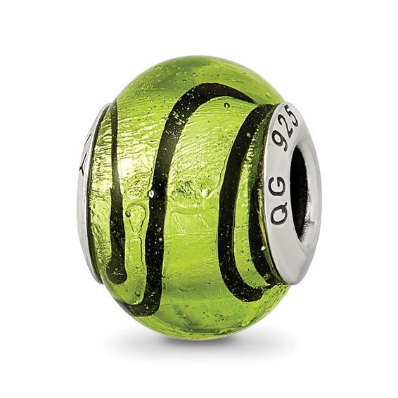 Sterling Silver Green Black Striped Italian Murano Bead