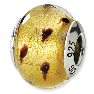 Sterling Silver Gold Brown Italian Murano Bead
