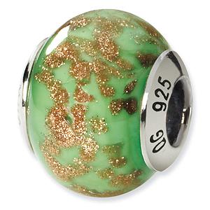 Sterling Silver Green Gold Italian Murano Bead