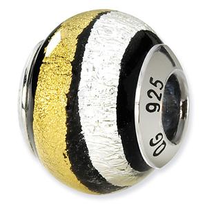 Sterling Silver Silver Gold Black Italian Murano Bead