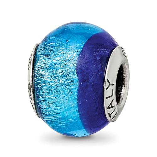 Sterling Silver Dark and Light Blue Italian Murano Bead