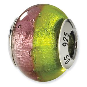 Sterling Silver Pink Green Italian Murano Bead