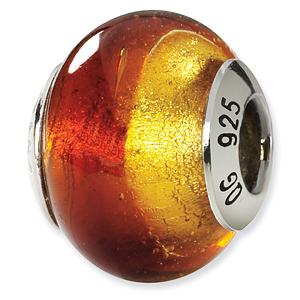 Sterling Silver Yellow Red Italian Murano Bead