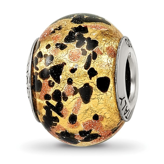 Sterling Silver Yellow Gold Black Italian Murano Bead