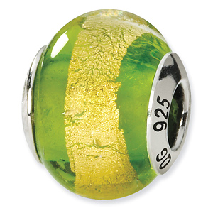 Sterling Silver Yellow Green Italian Murano Bead
