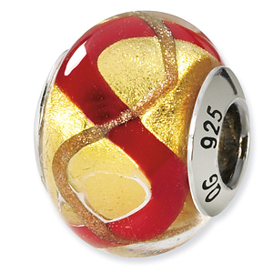 Sterling Silver Yellow Gold Red Italian Murano Bead