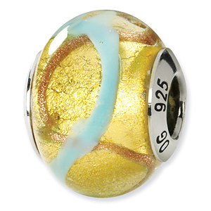 Sterling Silver Yellow Gold Blue Italian Murano Bead