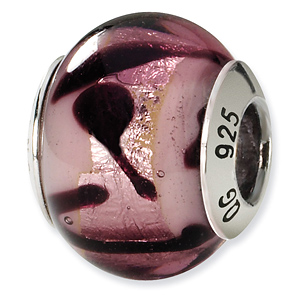 Sterling Silver Purple Black Italian Murano Bead