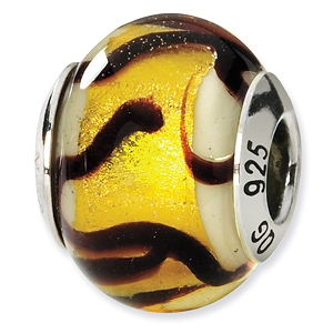 Sterling Silver Yellow Black Italian Murano Bead