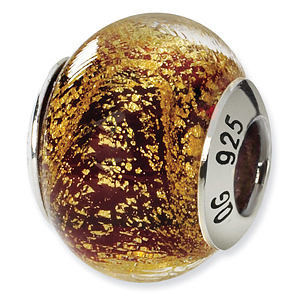 Sterling Silver Gold Red Italian Murano Bead