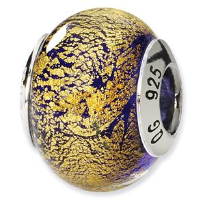 Sterling Silver Gold Purple Italian Murano Bead