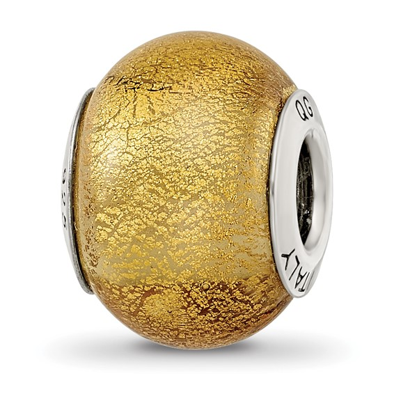 Sterling Silver Yellow Italian Murano Bead