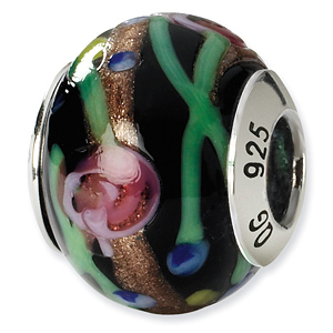 Sterling Silver Black Green Gold Red Italian Murano Bead