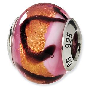 Sterling Silver Pink Orange Black Italian Murano Bead