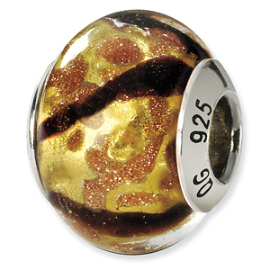 Sterling Silver Yellow Black Gold Italian Murano Bead