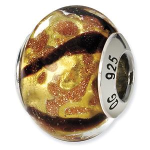 Sterling Silver Yellow Black Gold Italian Murano Bead