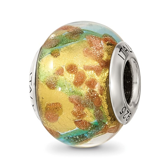Sterling Silver Yellow Blue Gold Italian Murano Bead