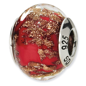 Sterling Silver Red Gold Italian Murano Bead