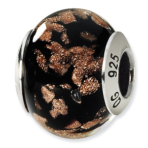 Sterling Silver Black Gold Italian Murano Bead