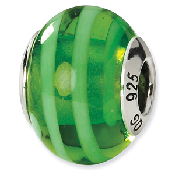 Sterling Silver Green Striped Italian Murano Bead