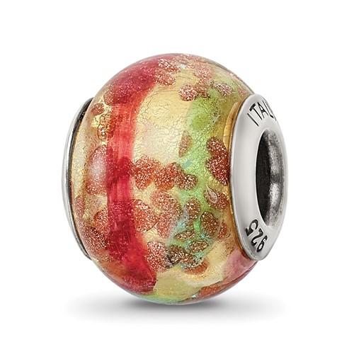Sterling Silver Multicolor Italian Murano Bead