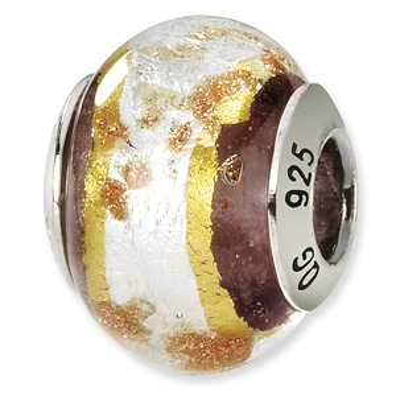 Sterling Silver White Gold Brown Italian Murano Bead