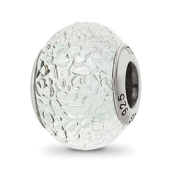 Sterling Silver White Italian Murano Bead