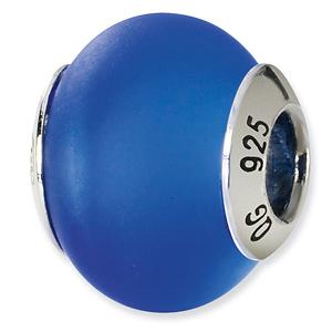 Sterling Silver Dk Blue Matte Italian Murano Bead