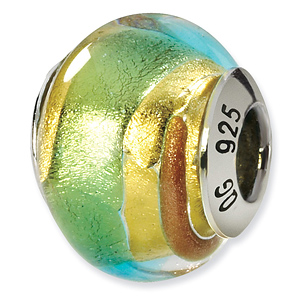 Sterling Silver Yellow Gold Green Italian Murano Bead