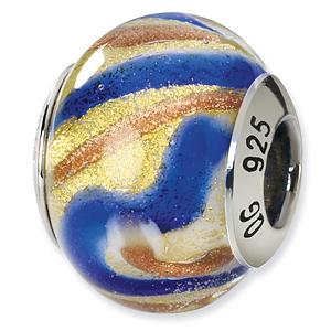Sterling Silver Yellow Gold Blue Italian Murano Bead