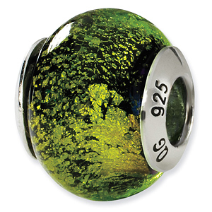 Sterling Silver Lime Green Black Italian Murano Bead