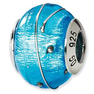 Sterling Silver Electric Blue Silver Stripe Italian Murano Bead