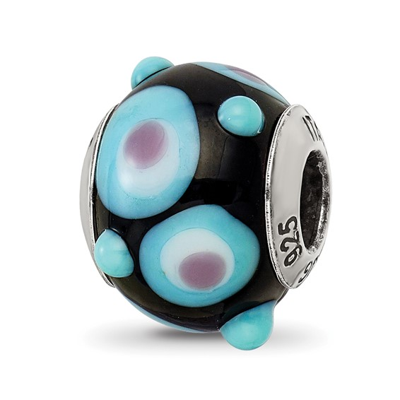 Sterling Silver Black Blue White Pink Italian Murano Bead