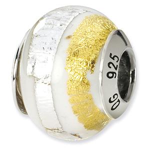 Sterling Silver White Gold Stripe Italian Murano Bead