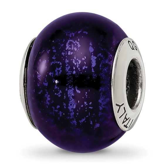Sterling Silver Midnight Blue Black Italian Murano Bead