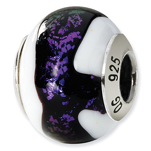 Sterling Silver Black Purple White Italian Murano Bead