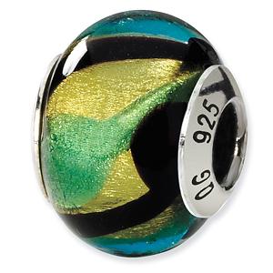 Sterling Silver Yellow Black Green Blue Italian Murano Bead