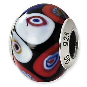 Sterling Silver Black Red White Blue Green Yellow Italian Murano Bead