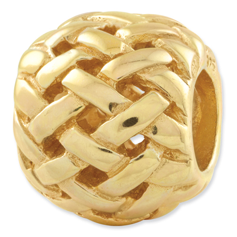 Sterling Silver Gold-plated Reflections Basketweave Bali Bead